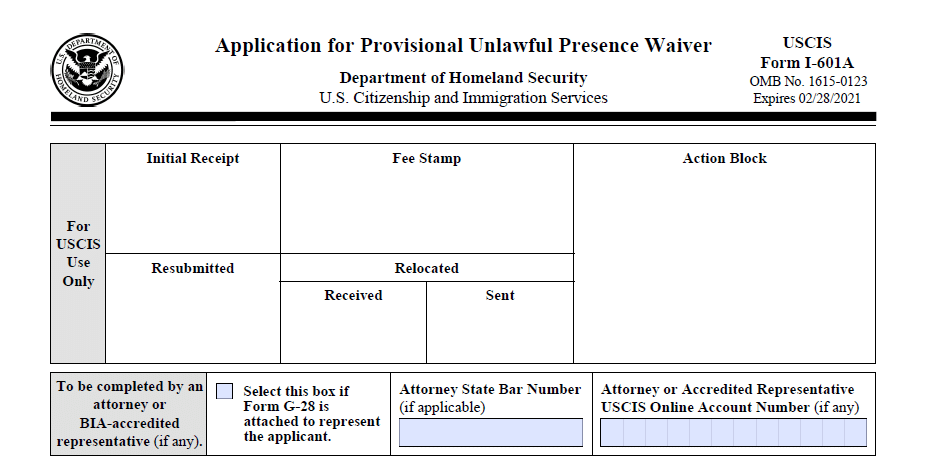 I 601A - Form I 601a Application For Provisional Unlawful Presence Waiver