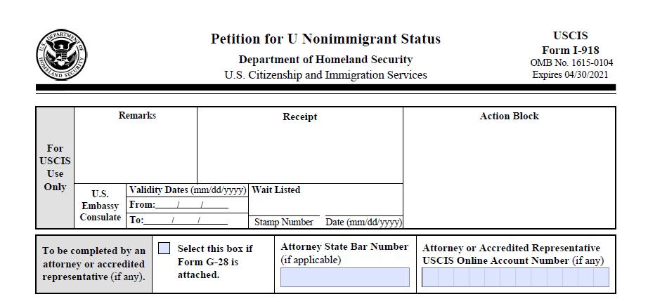 I-918 U Visa Form